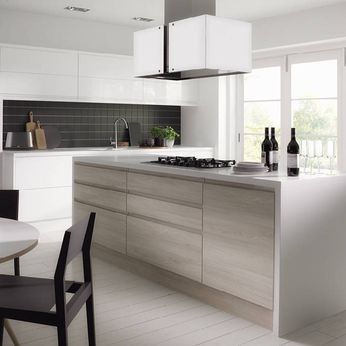 Handleless Pearl and Handleless White Gloss